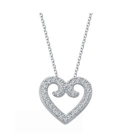 Lafonn Lafonn Silver Classic Pavee Vintage Heart Necklace with Simulated Diamond
