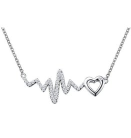 Lafonn Lafonn Silver Dainty Heart Necklace Along a Heartbeat Design with Simulated Diamonds