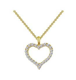 Lafonn Lafonn Silver Gold Tone Heart Necklace with Simulated Diamonds