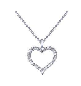 Lafonn Lafonn Silver Pavee Heart Necklace with Simulated Diamonds