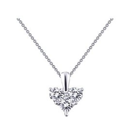Lafonn Lafonn Silver Three Stone Heart Necklace with Simulated Diamonds