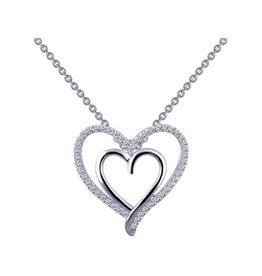 Lafonn Lafonn Silver Double Heart Pendant Necklace with Simulated Diamonds