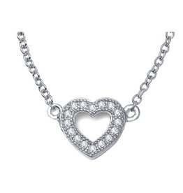 Lafonn Lafonn Sterling Silver Pavee Heart Necklace with Simulated Diamonds