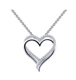 Lafonn Lafonn Silver Double Heart Necklace with Simulated Diamonds
