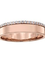 Crown Ring (10K, 14K, 18K) Rose Gold (0.12ct) Diamond Wedding Band