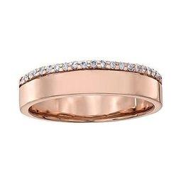 Crown Ring Rose Gold Diamond Anniversary Band (10K, 14K)
