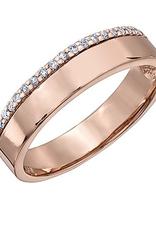 (10K, 14K, 18K) Rose Gold (0.12ct) Diamond Wedding Band