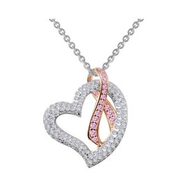 Lafonn Lafonn Silver Heart with Pink Ribbon Necklace with Simulated White & Pink Diamond