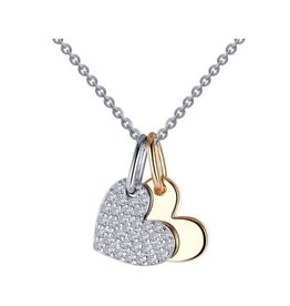 Lafonn Lafonn Silver Two-tone Heart Shadow Charm Necklace Set with Simulated Diamond