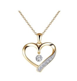 Lafonn Lafonn Silver Gold Tone Floating Open Heart Necklace with Simulated Diamond