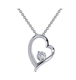 Lafonn Lafonn Silver Floating Open Heart Necklace with Simulated Diamond