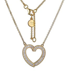 Elle Elle Emotion Sterling Silver Gold Tone CZ Heart Necklace