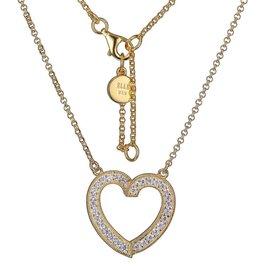 Elle Elle Sterling Silver Gold Tone Emotion Collection Heart Pink CZ Necklace