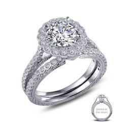 Lafonn Lafonn Silver Joined At The Heart Halo Ring Set with Simulated Diamonds