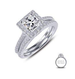 Lafonn Lafonn Sterling Silver Platinum Plated Simulated Diamonds Princess Cut Halo Joined-At-The-Heart Wedding Set