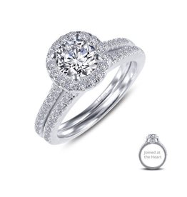 Lafonn Lafonn Sterling Silver Platinum Plated Simulated Diamonds Round Halo Joined-At-The-Heart Wedding Set