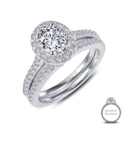 Lafonn Lafonn Silver Joined At The Heart Halo Oval Ring Set with Simulated Diamonds