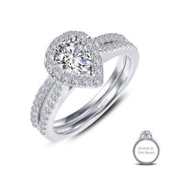 Lafonn Lafonn Silver Joined At The Heart Halo Tear-drop Ring Set with Simulated Diamonds