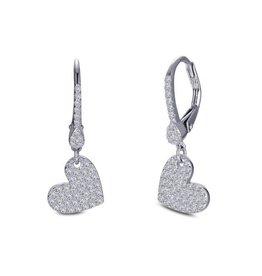 Lafonn Lafonn Silver Dangle Pavee Heart Earrings with Simulated Diamonds