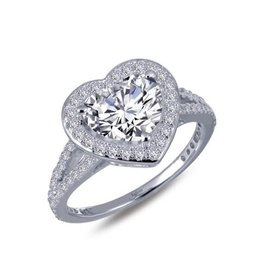 Lafonn Lafonn Silver Heart Within My Heart Halo Ring with Simulated Diamonds