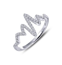 Lafonn Lafonn Silver Heartbeat Ring with Simulated Diamonds