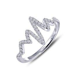 Lafonn Lafonn Sterling Silver Platinum Plated Simulated Diamonds Heartbeat Ring
