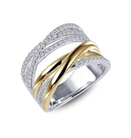 Lafonn Lafonn Two Tone Crossing Paths Ring Set with Simulated Diamonds