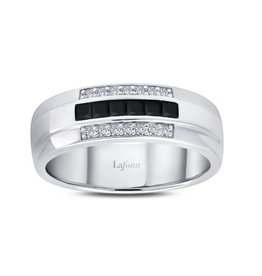 Lafonn Lafonn Silver Mens Ring Set with Black & White Simulated Diamonds