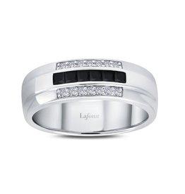 Lafonn Lafonn Sterling Silver Platinum Plated Black and White Simulated Diamonds Men's Wedding Band