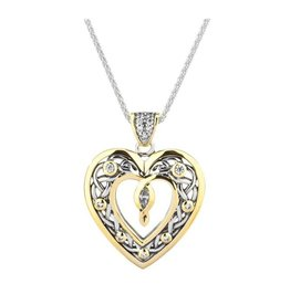 Keith Jack Keith Jack Celtic Heart Necklace In Sterling Silver with 10K Yellow Gold