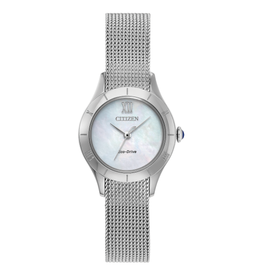 Citizen Citizen Ladies Silver Tone Watch With Mother of Pearl Dial and Mesh Band