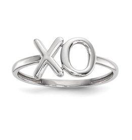 14K White Gold Polished XO Ring