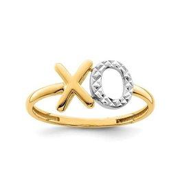 14K Yellow Gold and Rhodium Plating Diamond Cut XO Ring