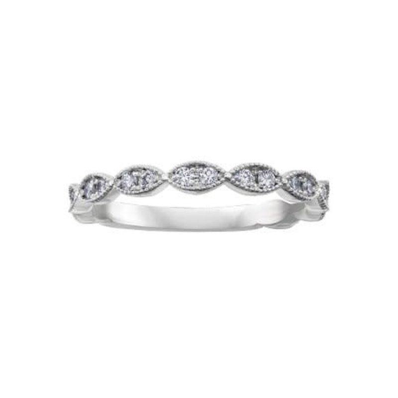 Crown Ring (10K, 14K) White Gold (0.20ct) Diamond Stackable Wedding Band