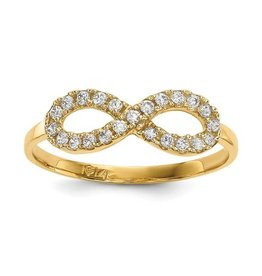14K Yellow Gold Infinity Ring With Cubic Zirconia