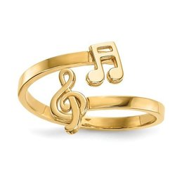 14K Yellow Gold High Polish Music Notes Bypass Ring