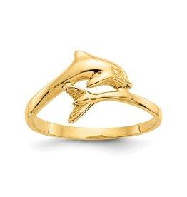 14K Yellow Gold High Polish Dolphin Ring