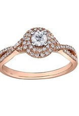 I am Canadian 10K Rose Gold (0.43ct) Canadian Diamond Double Halo Pink Passion Engagement Ring