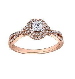 I am Canadian Pink Passion Rose Gold (0.44ct) Diamond Double Halo Engagement Ring