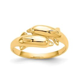 14K Yellow Gold High Polish Double Dolphin Ring