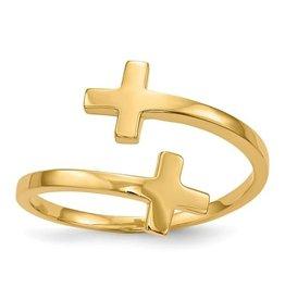 14K Yellow Gold High Polish Double Cross Ring
