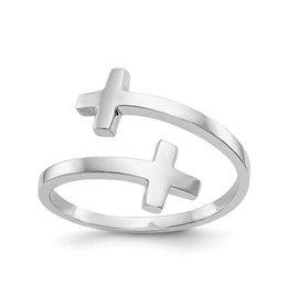 14K White Gold High Polish Double Cross Ring
