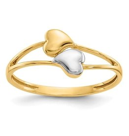 14K Yellow Gold High Polish Double Heart Ring with Rhodium