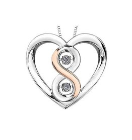 Silver & Rose Gold (0.04ct) Infinity Heart Pendant