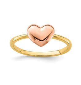 14K Yellow and Rose Gold High Polish Heart Ring