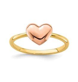 14K Yellow & Rose Gold High Polish Heart Ring