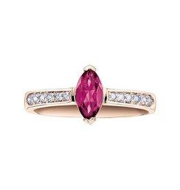 Rose Gold Pink Tourmaline and Diamond Ring