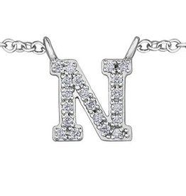 White Gold Initial N Diamond Necklace