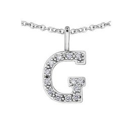 White Gold Initial G Diamond Necklace