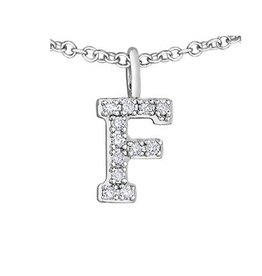 White Gold Initial F Diamond Necklace